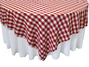 La Linen 84 By 84-Inch Square Polyester Checkered Tablecloth / / White And Red