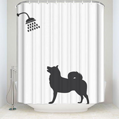 Funny Dog Bath Mildew Resistant Waterproof Fabric Shower Curtain, 72 X 72 Inch Long