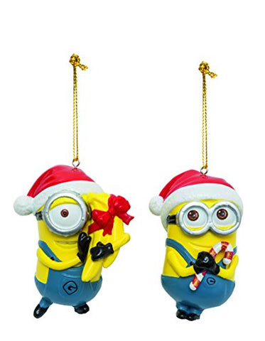 Despicable Me Dave And Carl With Santa Hats Minions Christmas Ornament Set Of 2