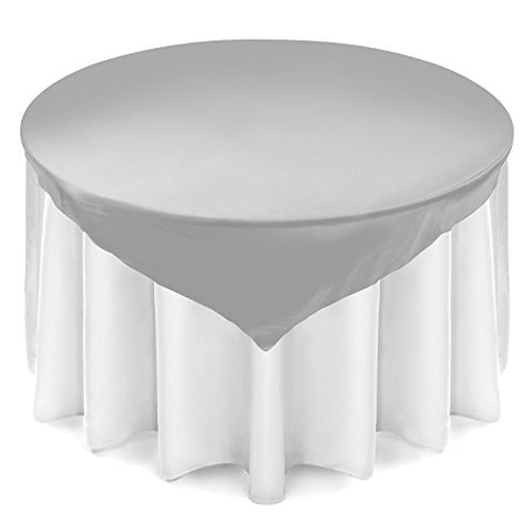 Lann'S Linens 72 Inch Square Satin Tablecloth Overlay - Wedding Banquet Party Decoration - Silver