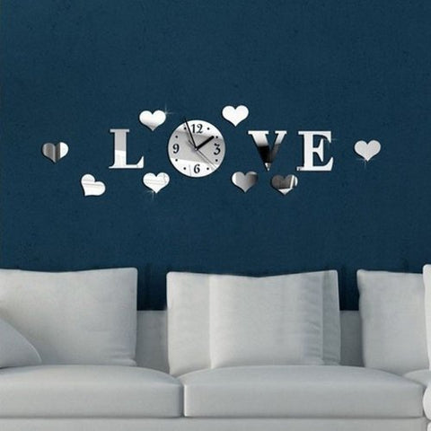 Amtonseeshop New Fashion Brand New Quartz Diy 3D Home Modern Decoration Crystal Mirror Living Room Love Wall Clock