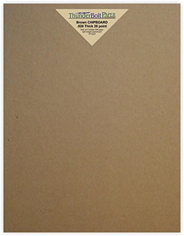 50 Chipboard 20Pt (Point) Thickness Sheets 9  X 12  (9X12 Inches) Frame And Sketch Pad Size Light Weight Calipers At .020 Inches Thick Cardboard Paper Brown Kraft Paperboard