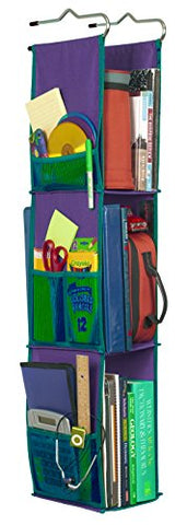 Lockerworks 3 Shelf Hanging Locker Organizer, 22-38 Inches Tall, Side Pockets, Suspends From Hooks, Shelf, Or Closet Rod - Purple/Teal