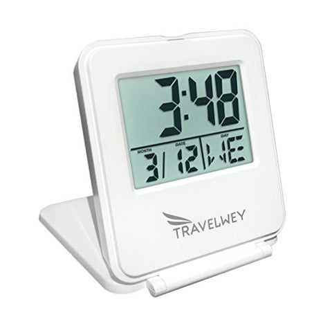 Travelwey Digital Travel Alarm Clock - 12/24 Hour, Date, Snooze, Light, White