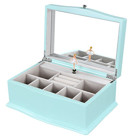 Songmics Girls Music Jewelry Box Turquoise Wooden Case With Ballerina & Large Mirror Ujow01Q