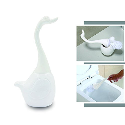 Swan Toilet Brush, Langxian Toilet Brush Detachable Swan Shape With Long Handle Full-Closed Bathroom Toilet Bowl Brush And Holders Set With Ceramic Base Cleaning Brush Accessories (White Swan )