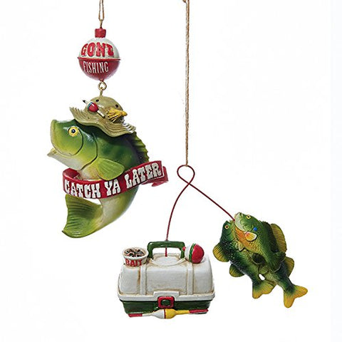 Kurt Adler Fishing Resin Christmas Ornaments Set Of 2 Assorted