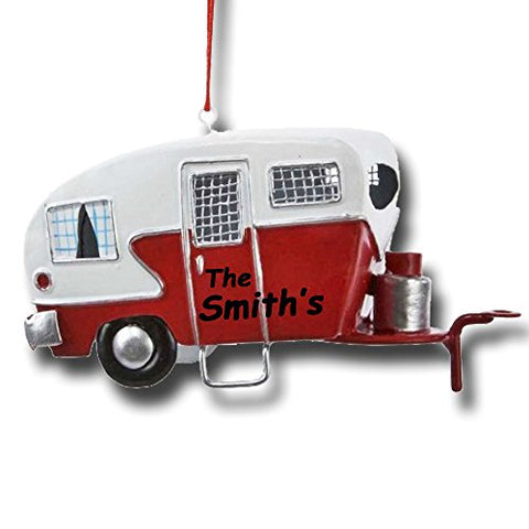 Personalized Tin Camper Christmas Ornament With Name
