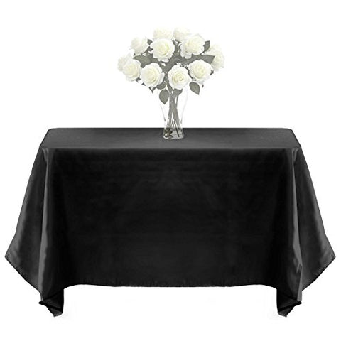 Lann'S Linens - Premium Weight Polyester Tablecloth - For Wedding, Restaurant Or Banquet Use - 60 In. X 126 In. , Black