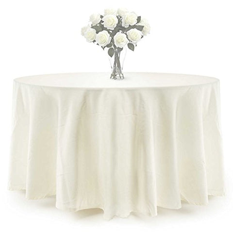 Lann'S Linens - 10 Pcs 108 In. Round Premium Weight Seamless Tablecloths - For Wedding Or Party Use - Ivory