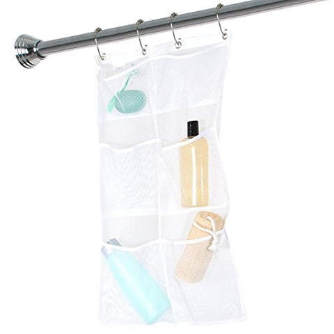 Bath Shower Sundries Hanging Storage Mesh Bag Case Pouch Organizer Container With Four Metal Buckles (White)