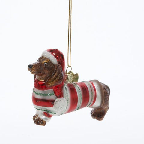 Kurt Adler 3-1/2-Inch Noble Gems Glass Daschund Ornament