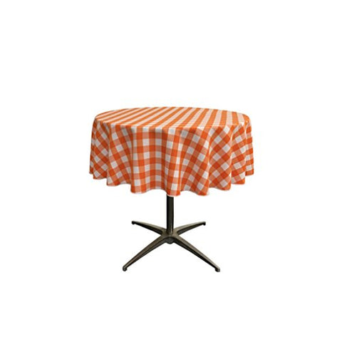 La Linen Poly Checkered Round Tablecloth, 51-Inch, Orange/White