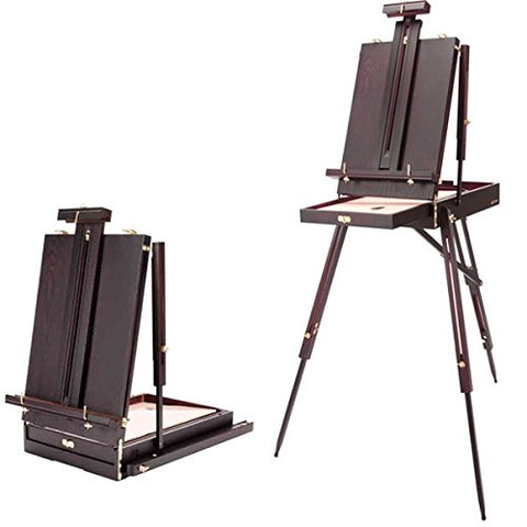 Soho Urban Artist Lightweight Mahogany Wooden French Art Easel (Folds Down 21  X 14  X 6 ) 30% Lighter Than Other Easels- Rich Mahogany Finish