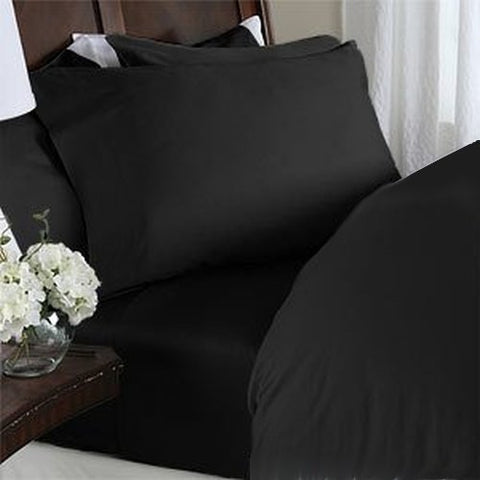 #1 Best Selling On Amazon 4Pc Sheet Set 800 Thread Count Expanded Queen 100% Egyptian Cotton Black Solid By Sds Collections
