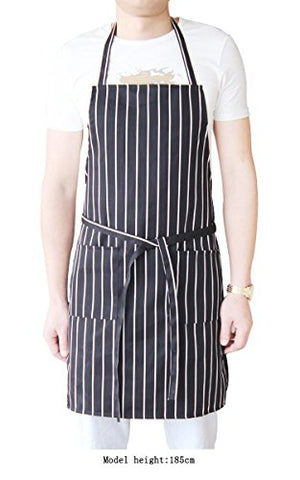 Unisex Chalk Striped Bib Apron With Pockets, Chef Aprons For Women And Men, Premium Quality, Professional Kitchen Aprons, Cooking, Gardening Or Barbeque, Black/White