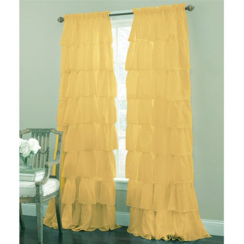 Lorraine Home Fashions Gypsy Ruffled Window Curtain Panel, 60 Inch X 63-Inch, Gold