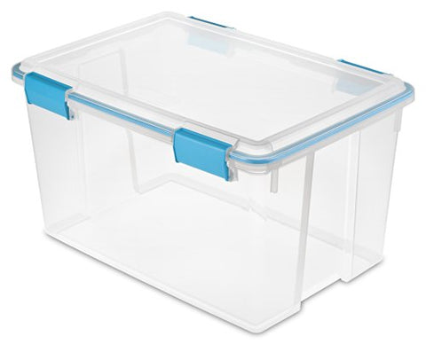 Sterilite 19344304 54 Quart/51 Liter Gasket Box, Clear With Blue Aquarium Latches And Gasket,