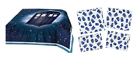 Doctor Who Tardis Quilt & Sheets Bedding Bundle Set For Queen Bed - Queen Sheets + F/ Queen Quilt