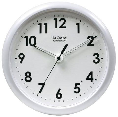 La Crosse Illuminated 403-310 10 Inch White Frame Clock