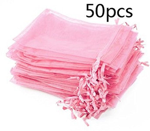 Kupoo Lot Of 50 4 X 6Drawstring Organza Pouch Strong Wedding Favor Gift Candy Bag (Pink)