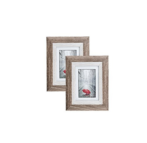 Distressed Gray Wood Picture Frame 5X7 (2 Pc) Display With Photo Glass Front, Easel Back, And Wall Hang Clip | 2 Piece Set (Ash)