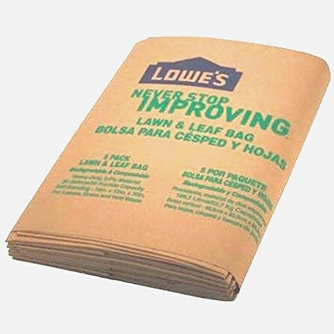 Lowes 30 Gallon Paper Lawn And Leaf Trash Bags, 5 Count  15 Total