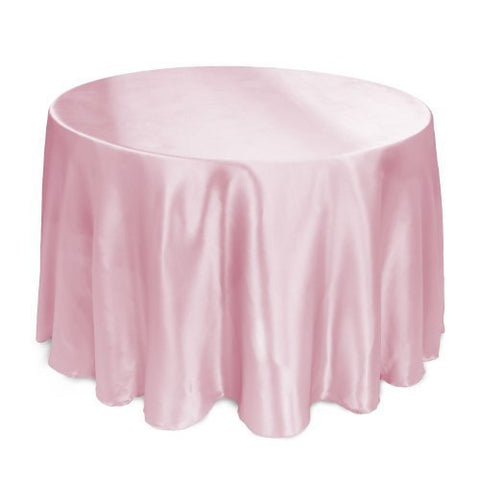 Linentablecloth 108-Inch Round Satin Tablecloth Pink