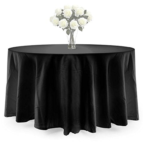 Lann'S Linens - 10 Pcs 90 In. Round Premium Weight Seamless Tablecloths - For Wedding Or Party Use - Black