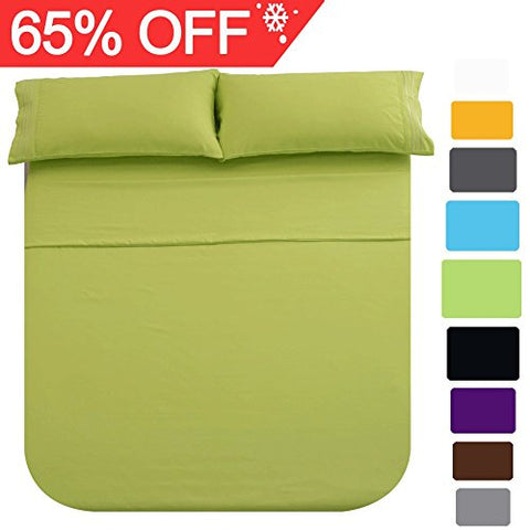 Shilucheng Bed Sheet Set Microfiber 1800 Threads Egyptian Super Soft Sheets 16-Inch Deep Pocket - Hypoallergenic - 4 Piece (Queen, Green)