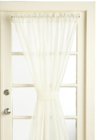 Lorraine Home Fashions Reverie Snow Voile Tailored Door Panels, 60 By 72-Inch, Eggshell