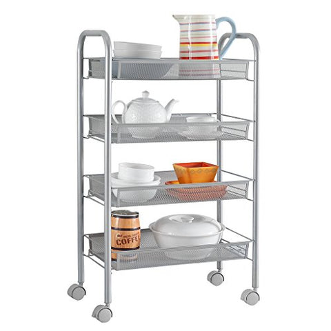 Langria 4-Tier Wire Mesh Rolling Cart For Serving Utility Organization Kitchen Cart With Portable Metal Handle Easy Moving Flexible Wheels, Metallic Grey