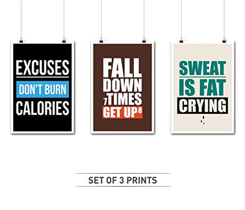 Set Of Three Gym Quotes Poster Who Inspire Our Fitness And Health In A3 (16.5 X 11.7)