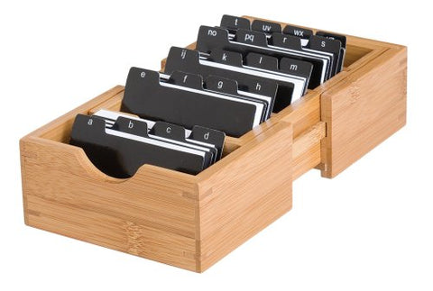 Lipper International 810 Bamboo Expandable Business Card Holder With Dividers And Index Tabs