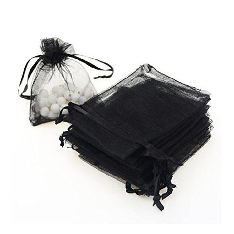 Kupoo 5X7Organza Drawstring Gift Bag Pouch Wrap For Party/Game/Wedding (Black)