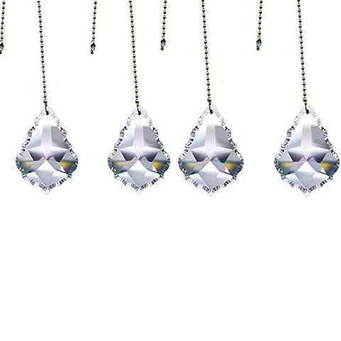 Magnificent Crystal 50Mm Clear Crystal Pendeloque Prism, 4 Pcs Dazzling Crystal Ceiling Fan Pull Chains
