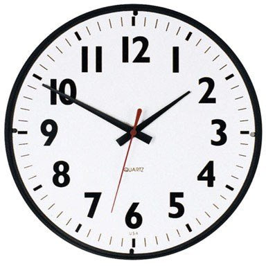 Westclox Wall Clock 14 Dia. White Quartz Analog Movement Black Case