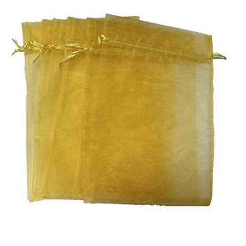 Kupoo Drawstring Organza Pouch Strong Wedding Favor Gift Candy Bag, Gold, 7 X 9 Inch, 50 Pcs