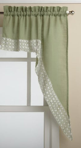 Lorraine Home Fashions Salem 60-Inch X 38-Inch Tailored Swag Pair, Sage