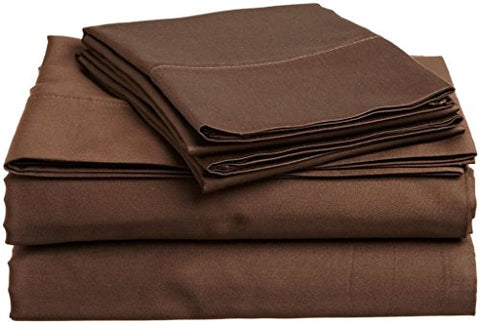 #1 Bed Sheet Set Queen Size Chocolate Solid Soft Quality Genuine 800-Thread-Count (15 Pockets) Super Rich Egyptian Cotton By Rajlinen