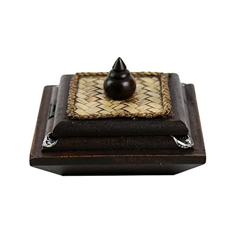 Mural Art Thailand Wooden Ashtray Carved Handicraft With Elephant Silver Plated And Covered By Bamboo Weaving Lid Cigarette Ash Holder Container (Medium)