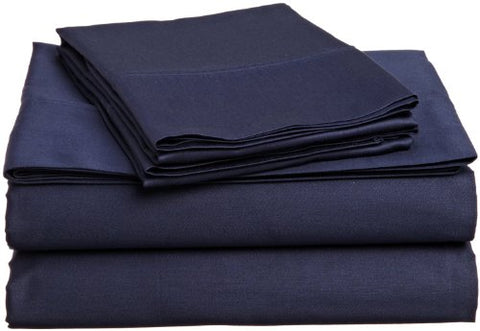 College Dorm Microfiber Twin Extra Long 3 Pc Sheet Set - Navy Blue