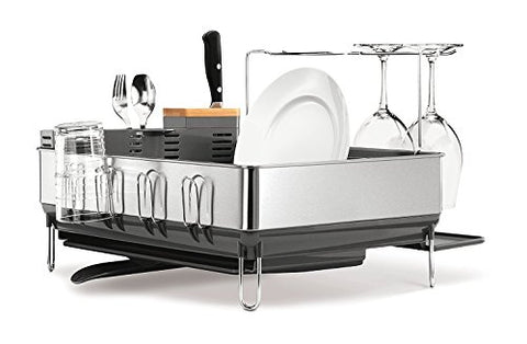 Simplehuman Steel Frame Dish Rack With Wine Glass Holder, Fingerprint-Proof Stainless Steel, Grey