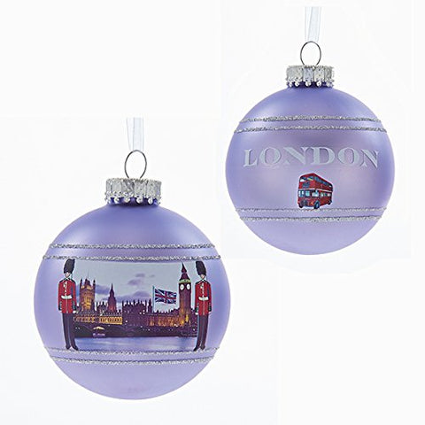 Kurt Adler 80 Mm Glass Purple London Ball Christmas Ornament