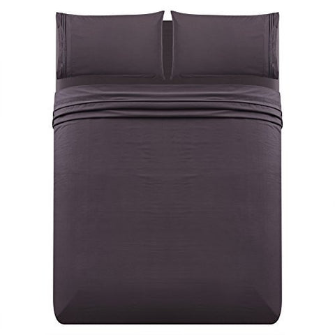 L-Angel 4Pc 1800 Thread Count Brushed Microfiber Embroidered Bed Sheet Set With Fitted & Flat Sheet & Pillowcases - Deep Pocket Wrinkle Free Hypoallergenic Bedding, Purple, Queen