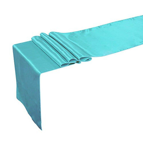 Ling'S Moment Satin Table Runner For Wedding Decoration, Bright Silk And Smooth Fabric Party Table Runner, 12 X 108 Inch, Aqua Blue, Turquoise, Set Of 10