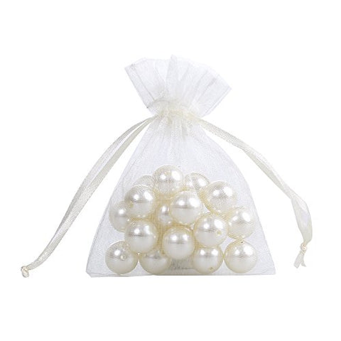 Ling'S Moment 3 X 4 Inch Sheer Organza Gift Candy Bags (100, Ivory)