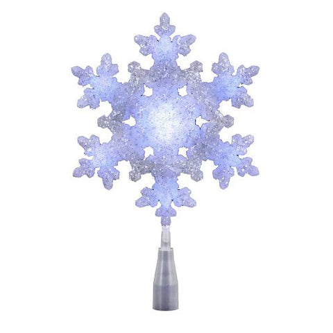 Kurt Adler Ul 10-Light Led Snowflake Treetop, White/Blue