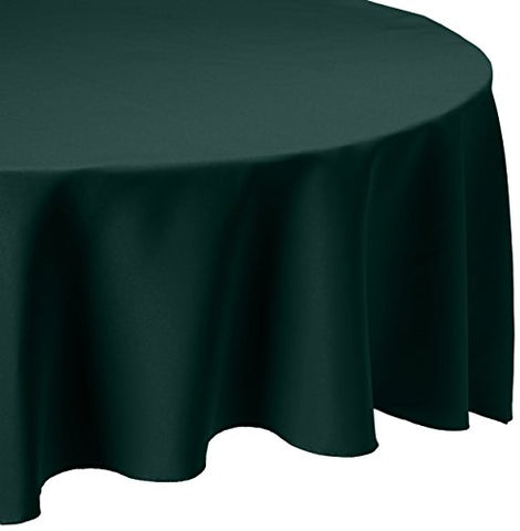 Linentablecloth 108-Inch Round Polyester Tablecloth Hunter Green