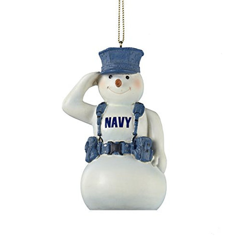 United States U.S. Navy Snowman Saluting In Gear Christmas Ornament